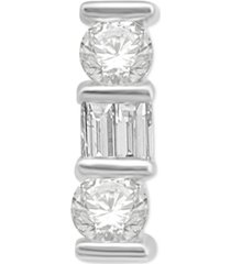diamond baguette & round stud earring (1/5 ct. t.w.) in 14k white gold