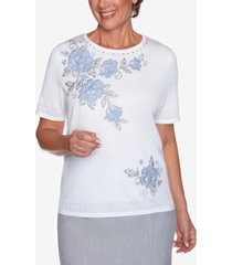 alfred dunner women's missy french bistro yoke floral with pointelle sweater