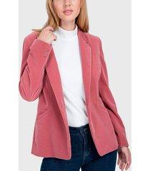 blazer io terciopelo rosa - calce regular