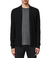 men's allsaints mode slim fit wool cardigan, size xx-large - black