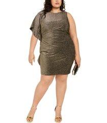 vince camuto plus size one-sleeve metallic bodycon dress