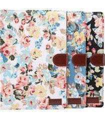 dibase para huawei mediapad m5 10,8 pulgadas superficie de tela flor patron pu estuche de cuero con titular y ranuras para tarjetas y cartera (azul)