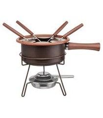 aparelho de fondue aspen marrom 8 peças 1 litro forma