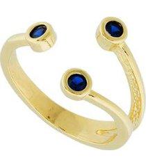 anel dona diva semi joias três zircônias safira feminino