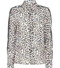 alice + olivia leopard print silk shirt
