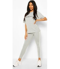 high waist double side stripe legging, grey marl