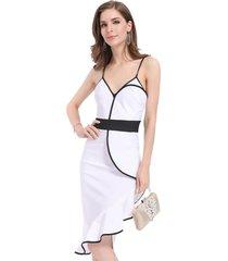 vestido bicolor asimétrico blanco/negro nicopoly