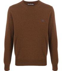 acne studios suéter decote careca com patch - marrom