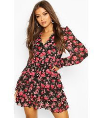 chiffon floral tiered hem skater dress, black