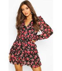 bloemenprint chiffon skater jurk met laagjes, zwart