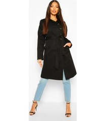 button detail mac trench coat, black