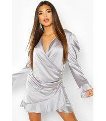 satin wrap frill shift dress, silver