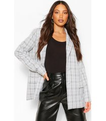 tall flannel oversized blazer, grey