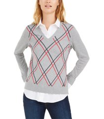 tommy hilfiger cotton layered-look sweater, created for macy's