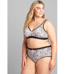 lane bryant women's cotton full brief panty 26/28 bright summer floral