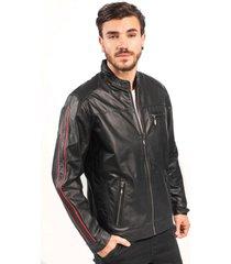 jaqueta de couro np couros esportiva listra vertical preto e vermelho