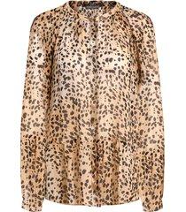 blouse met dierenprint annora  bruin
