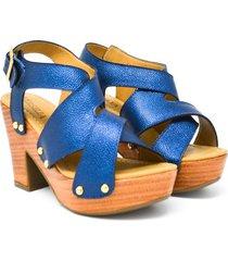 tacón con plataforma en cuero azul versilia tutty