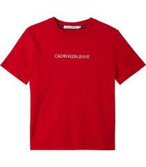 camiseta de algodón orgánico con logo rojo calvin klein