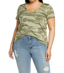 plus size women's caslon rounded v-neck tee, size 1x - green
