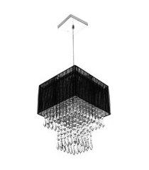 lustre para sala de cupula cristal acrílic marrycrilic preto