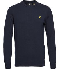 cotton crew neck jumper gebreide trui met ronde kraag blauw lyle & scott