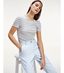 tommy hilfiger women's ribbed short-sleeve t-shirt bretton stripe / grey/white - s