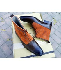 handmade men ankle boot brown tan suede & leather shoes dress formal denim boot