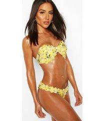 ditsy floral scallop edge bandeau bikini, yellow