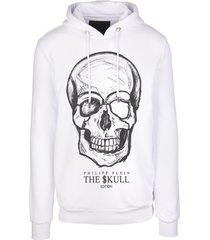 philipp plein man white hoodie with printed skull