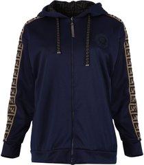 navy oversized zip-up sweatshirt