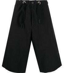 oamc wide-leg cotton bermuda shorts - black