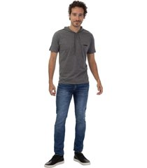 camiseta masculina faixa ombro cinza - cinza - masculino - dafiti