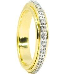 anel kumbayá  venice saturno   semijoia banho de ouro 18k cravação de zircônia  detalhe em ródio - kanui