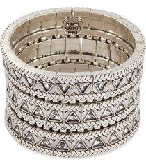 'clemence' swarovski crystal braid effect three row elastic bracelet