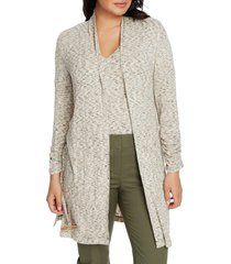 women's chaus jaspe ribbed belted long cardigan