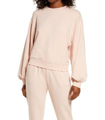 women's ugg brook balloon sleeve crewneck pullover, size x-small - pink