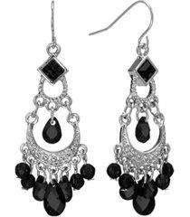 2028 silver-tone black chandelier earrings