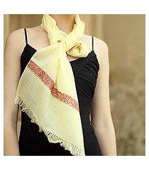wool scarf, 'ruby lemon' (india)