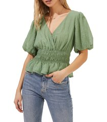 astr the label shirred bubble sleeve blouse, size x-small in sage at nordstrom