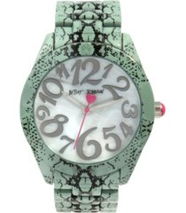 betsey johnson women's snake print silver-tone snake printed bracelet watch 42mm