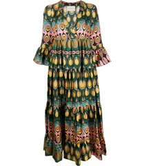 la doublej abstract print flared dress - green