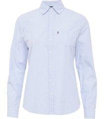 emily poplin shirt långärmad skjorta blå lexington clothing
