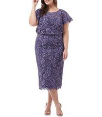 plus size women's js collections blouson lace midi dress, size 18w - purple