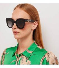 gucci women's acetate square frame sunglasses - black/grey