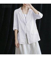 zanzea ocasional de las mujeres del algodón flojo blazer abrigos camisas de las tapas de la blusa del tamaño extra grande -blanco