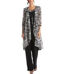 r & m richards 3-pc. printed jacket, necklace top & pants set