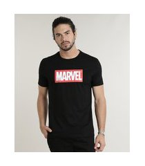 camiseta masculina marvel lista de filmes manga curta gola careca preta
