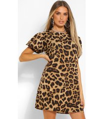 leopard print puff sleeve shift dress, brown