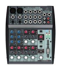 mesa de som mixer behringer 1002 xenyx 10 inputs 2 bus cinza 110v